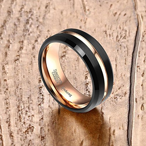 enhong Mens Tungsten Carbide Rings 8mm Black Matte Finish Weding Band 18K Rose Gold Plated Beveled Edge Wedding Ring By 7 by enhong (Image #1)