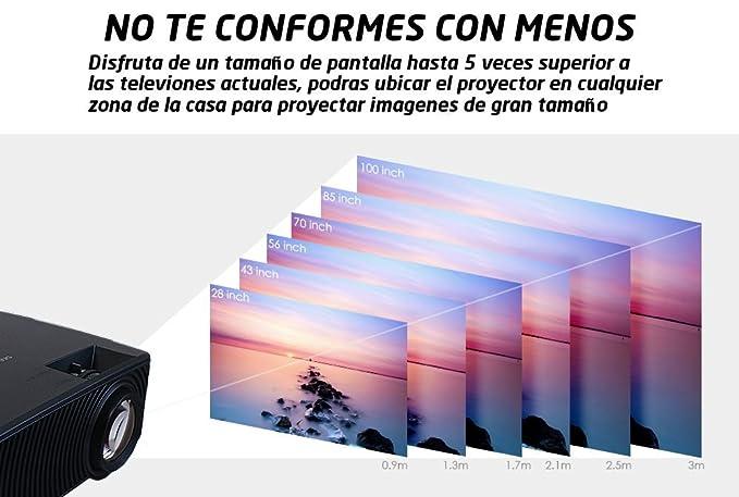 Seelumen PW100-S - Proyector Portátil LCD Full HD 1080P 2018, Maxima Luminosidad, con HDMI USB Soporte MKV AC3 para PS4, Xbox, Nintendo Switch, ...