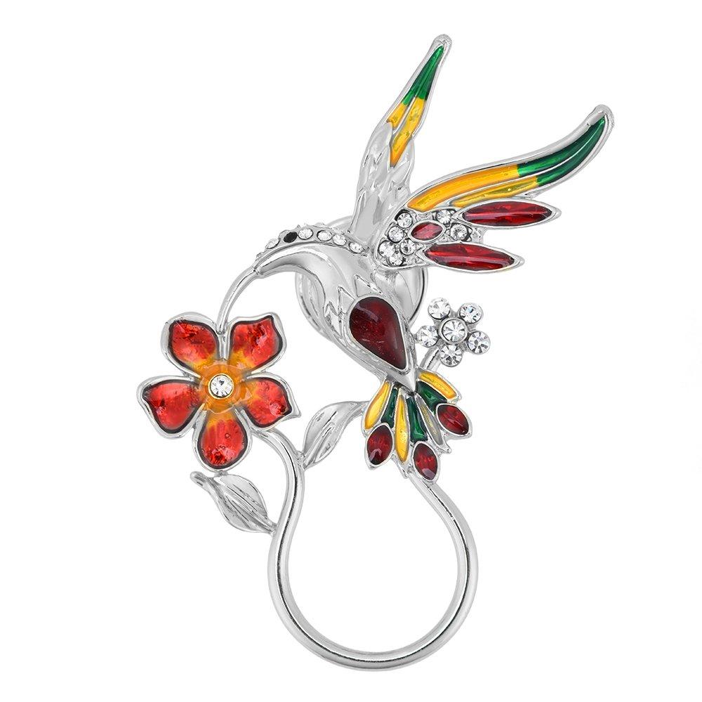 GUANDU Enamel Rhinestone Hummingbird Magnetic Eyeglass Holder for Women Teen Girls (Silver)