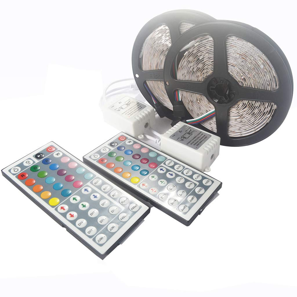 2Set 5M 16.4ft 5050 RGB SMD Non-Waterproof LED Strip Light 300 44 Key Remote DC