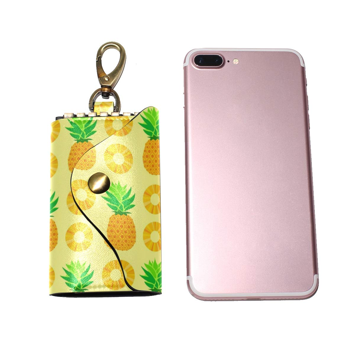 KEAKIA Yellow Pineapple Pattern Leather Key Case Wallets Tri-fold Key Holder Keychains with 6 Hooks 2 Slot Snap Closure for Men Women