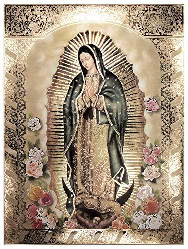 Our Lady of Guadalupe, Body Portrait,Roses - Religious Wall Art Print Poster (12x16)