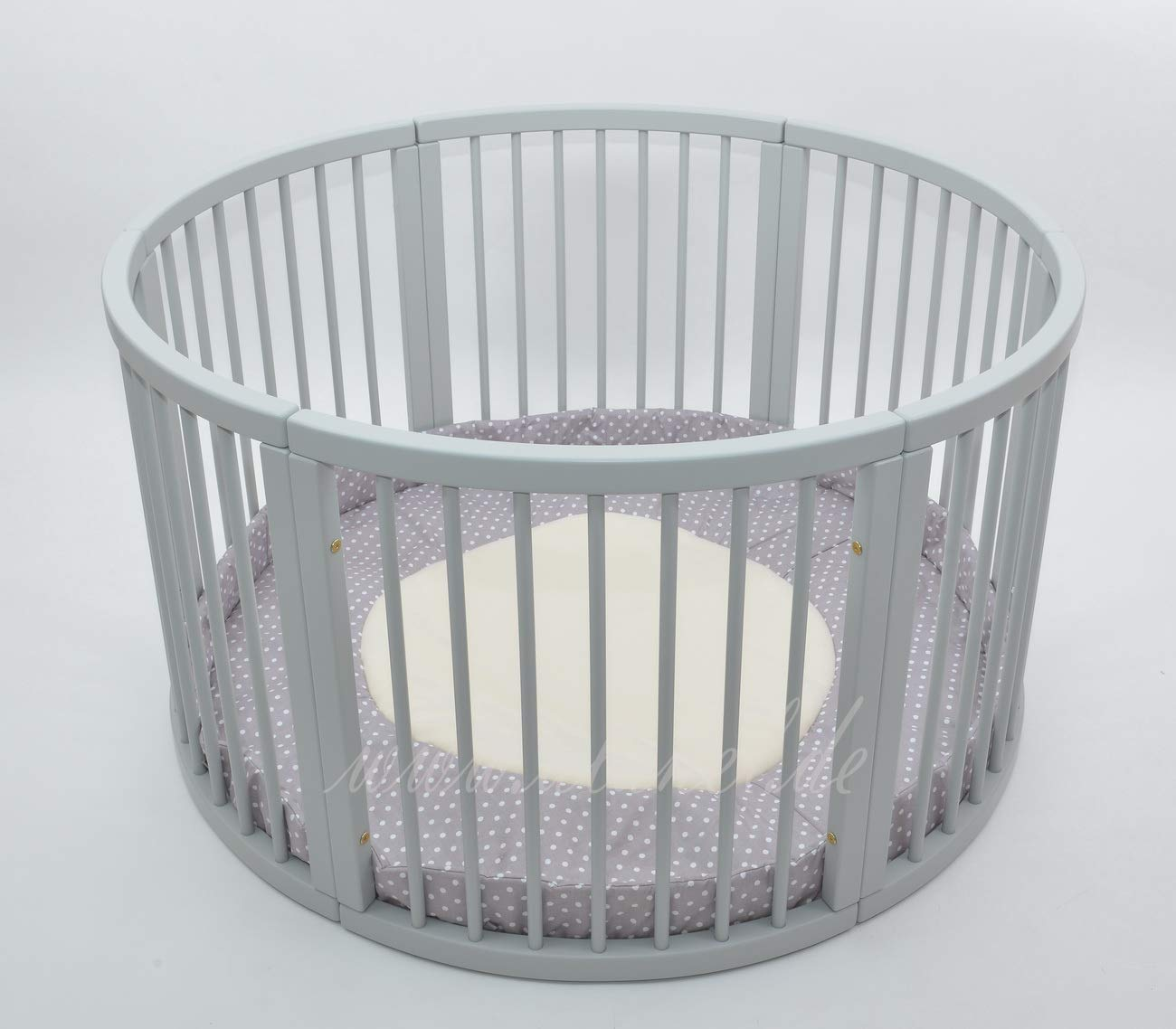 /Ø 120cm VERY LARGE WOODEN BABY PLAYPEN WITH PLAYMAT Stripes