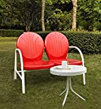 Crosley '2-Piece Griffith Metal Outdoor Conversation Seating Set with Loveseat and Table', Red For Sale