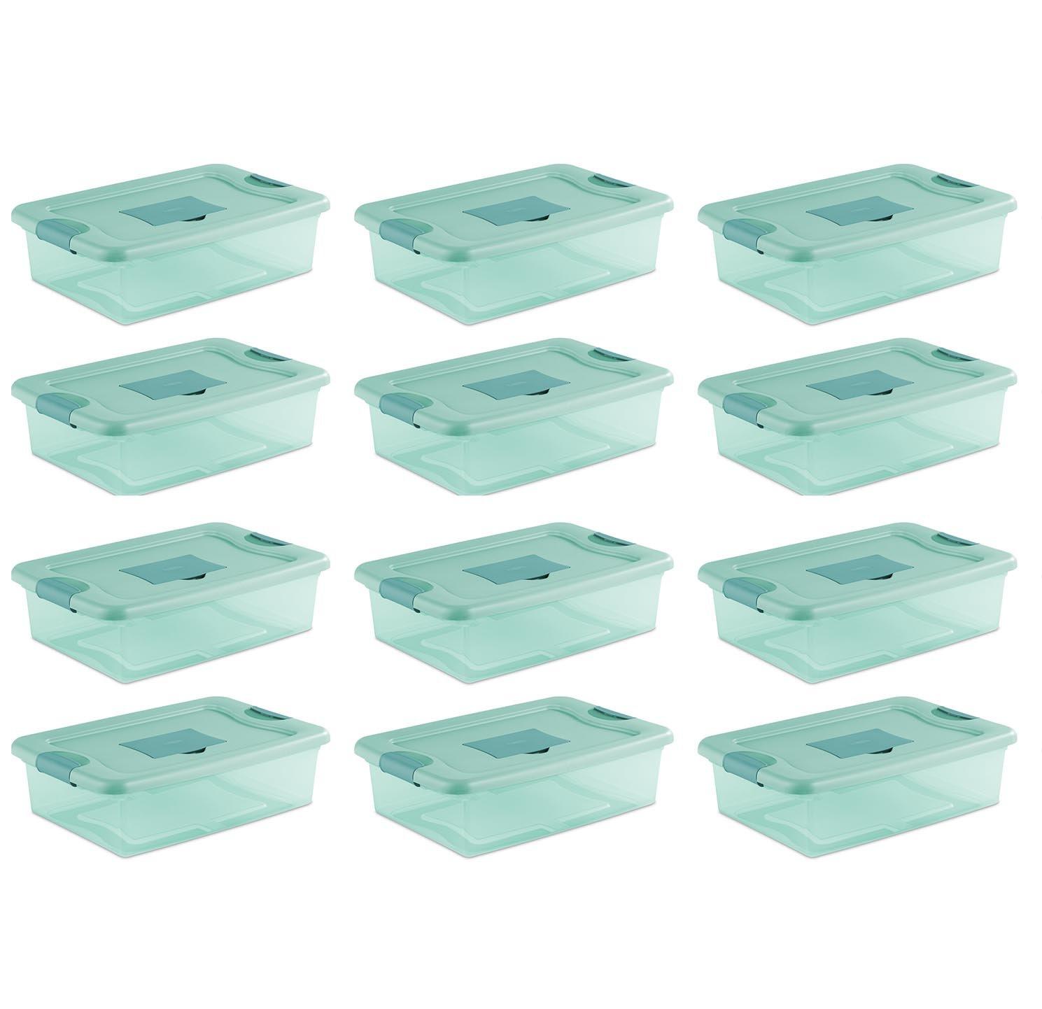 Sterilite 32 Quart Fresh Scent Stackable Plastic Storage Box Container (12 Pack)