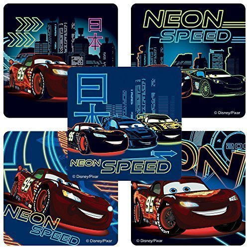 Glow in the Dark Disney Cars: Neon Racers Stickers - Birthda