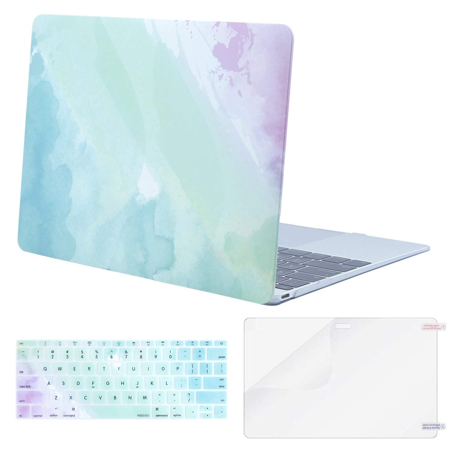 Mosiso Plastic Hard Case with Keyboard Cover with Screen Protector Compatible MacBook 12 Inch with Retina Display A1534 Newest Version 2017//2016//2015 Pink Marble