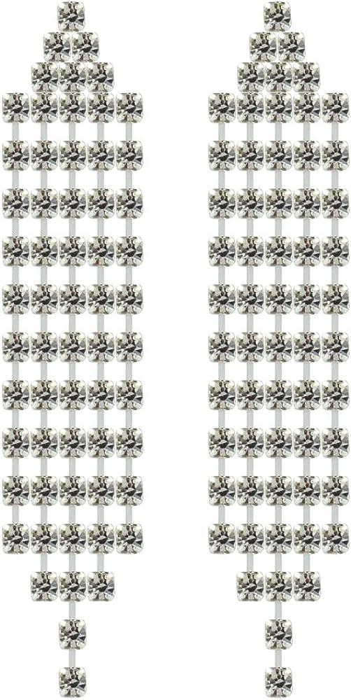 RIZILIA Borlas Clip en Pendientes con Corte Redondo Piedras Preciosas Circonita CZ [Topacio Blanco] en 18K Chapado en oro blanco, Elegancia Moderna Sencillo
