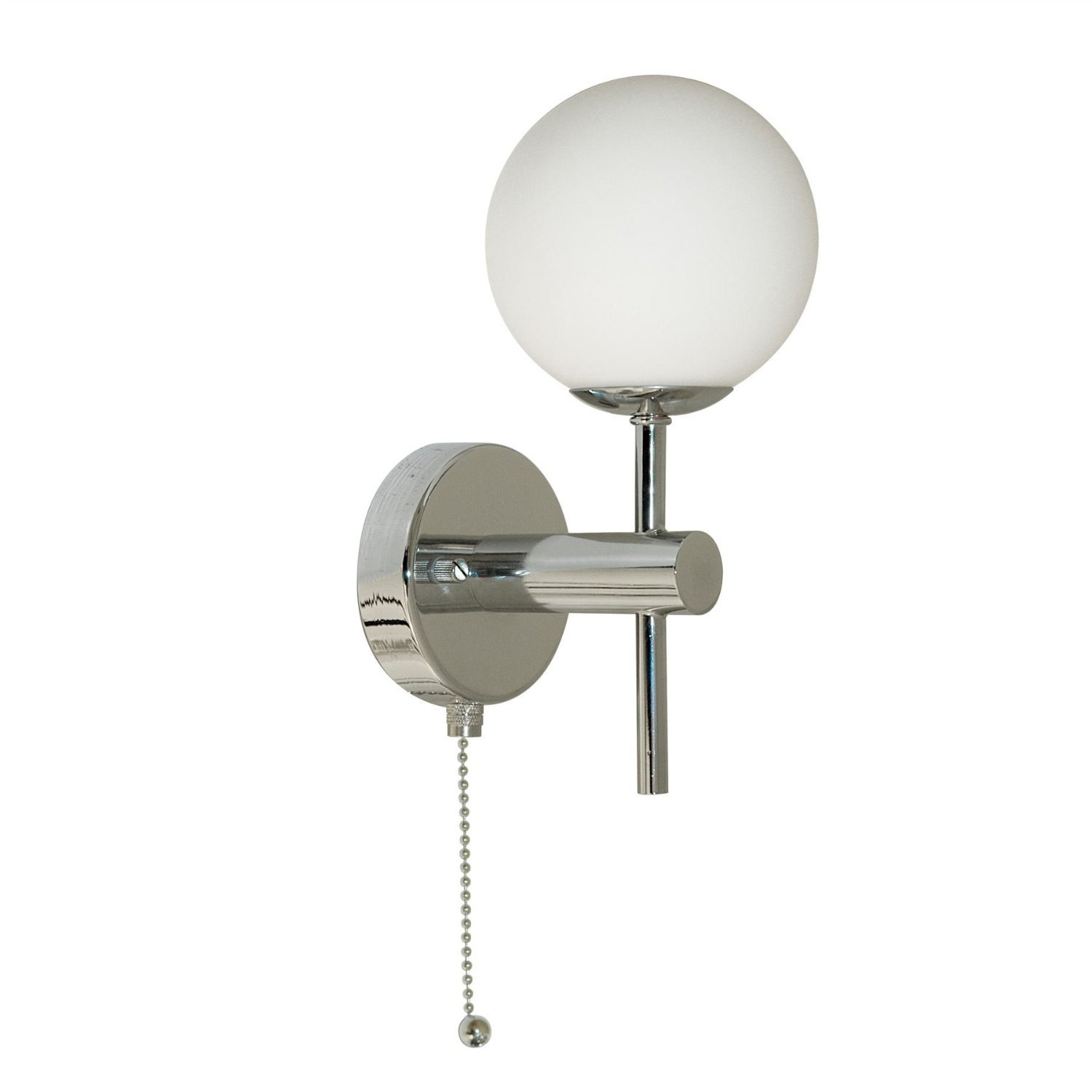 Bathroom Globe Chrome Finish Wall Light with Pull Switch, IP44 Rated, 4337-1 Searchlight 4337-1-LED