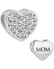 Jesse Ortega 925 Sterling Silver Mom Heart Love Rhinestone Crystal Bead Charms