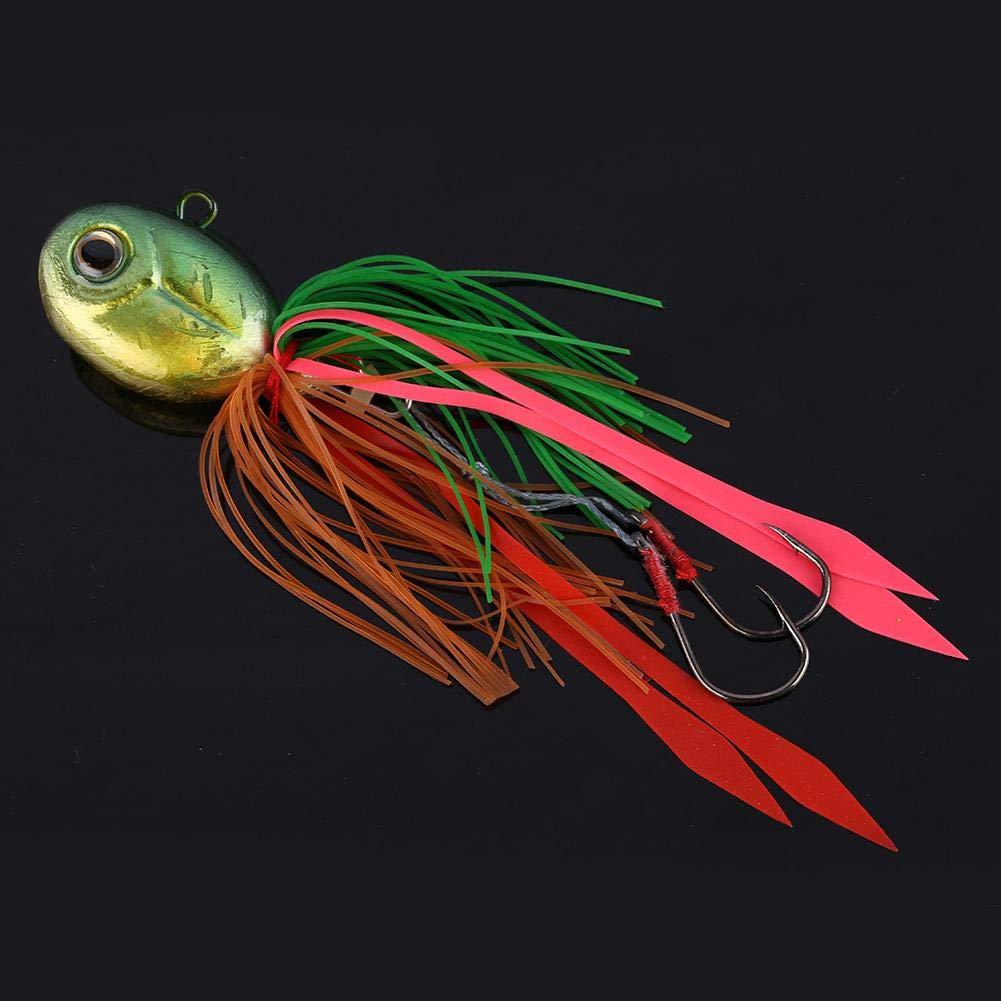 Cebo de Cabeza de Plomo de Calamar de Ojos 3D con Falda de Silicona Plantillas de Pesca de Agua Salada Se/ñuelos de Pesca