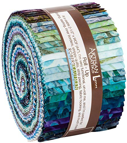 Artisan Batiks Aqua Spa Roll Up 2.5-inch Quilting Strips Jelly Roll Fabric Robert Kaufman Fabrics - Fabric Spa