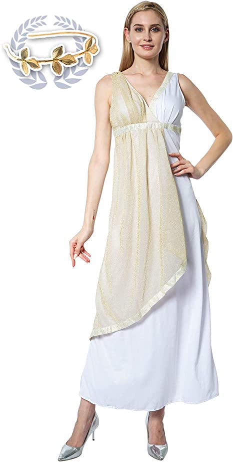 EraSpooky Disfraz de Diosa Griega Antigua para Mujer Toga Traje de ...