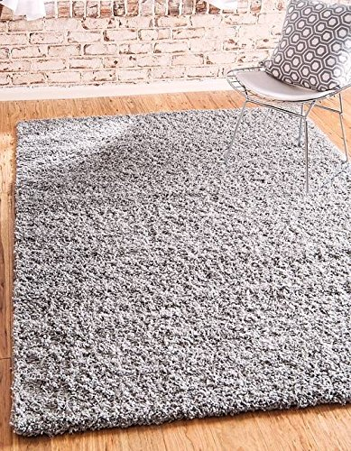 Unique Loom Solid Shag Collection Cloud Gray 5 x 8 Area Rug (5' x 8')
