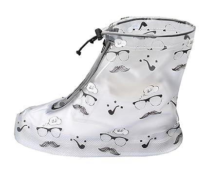 Calzado Antideslizante Para cubierta de la lluvia con el bigote y el patrón de los vidrios Cn2yzHNI