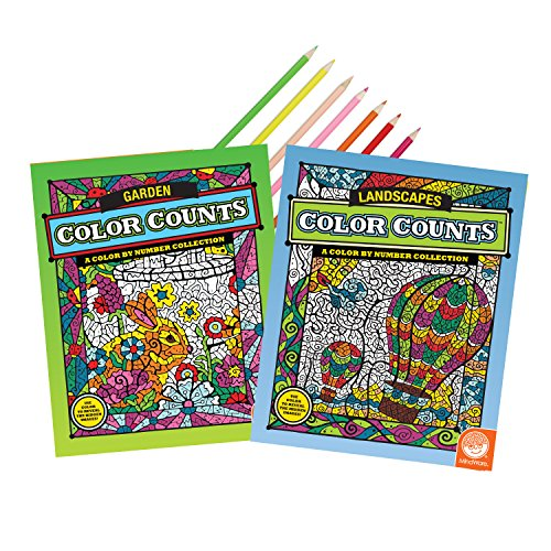 MindWare Coloring Book Set of 2: Daydream Delights with 18 FREE Artist-Quality Colored Pencils