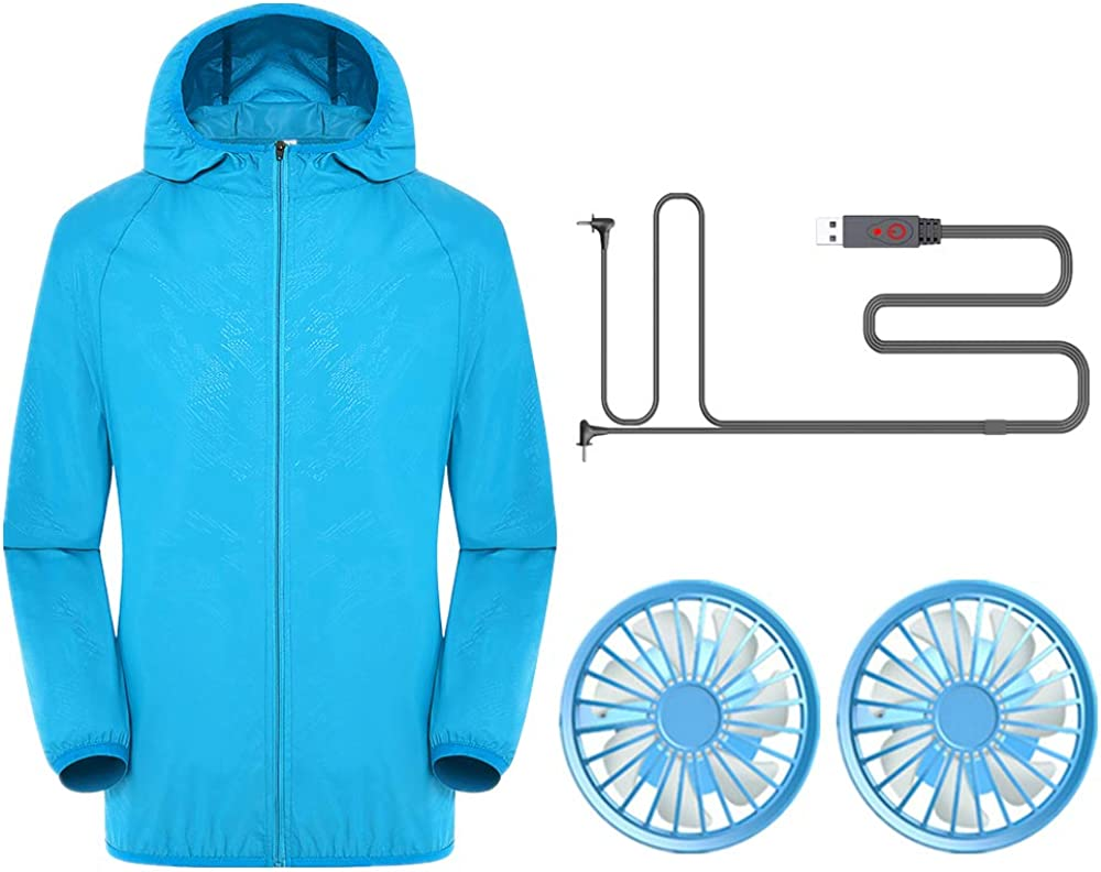LvBo Men Workwear Equipped Cooling Jacket 4 Fans Without Battery for Summer Outdoors Air-Conditioned Clothes