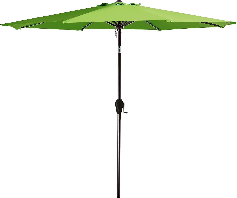 JEAREY 11FT Patio Umbrella Outdoor Market Table Umbrella with Crank & 8 Sturdy Ribs Sun Umbrella for Garden Lawn Deck Backyard Pool