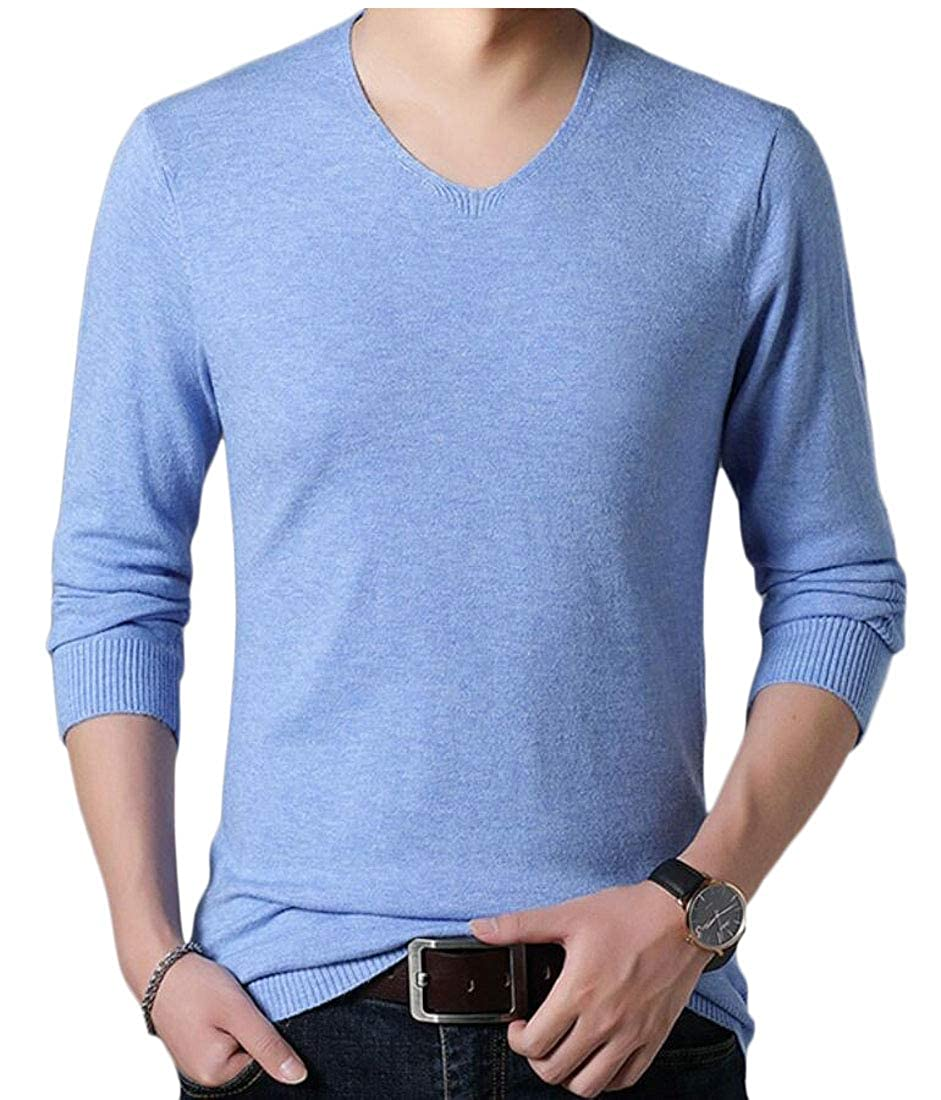 WSPLYSPJY Mens Top Comfortably Knitted Long Sleeve V-Neck Sweaters
