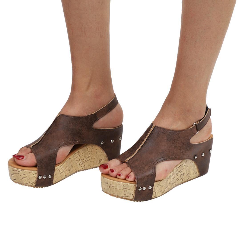 FORUU Women Summer Round Toe Breathable Rivet Beach Sandals Boho Casual Wedges (39, Brown)