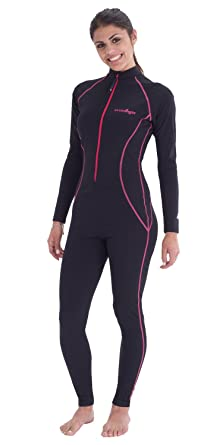 1f929ee38f7 Women Full Body Coverup UV Swimsuit Sun Protection UPF50+ Chlorine Resistant,  Black Pink Stitch,