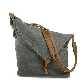 3284bff1fed3a VZVABAG Damen Frauen Umhängetasche Handtasche Schultertasche Canvas Shopper  Tasche Verstellbare Schultergurte Vintage (Dunkelgrau)