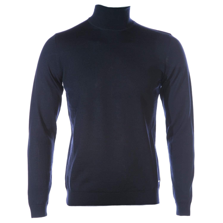 13238d688 BOSS Men's Virgin Wool Roll Neck Musso-P Jumper Navy: Amazon.co.uk: Clothing