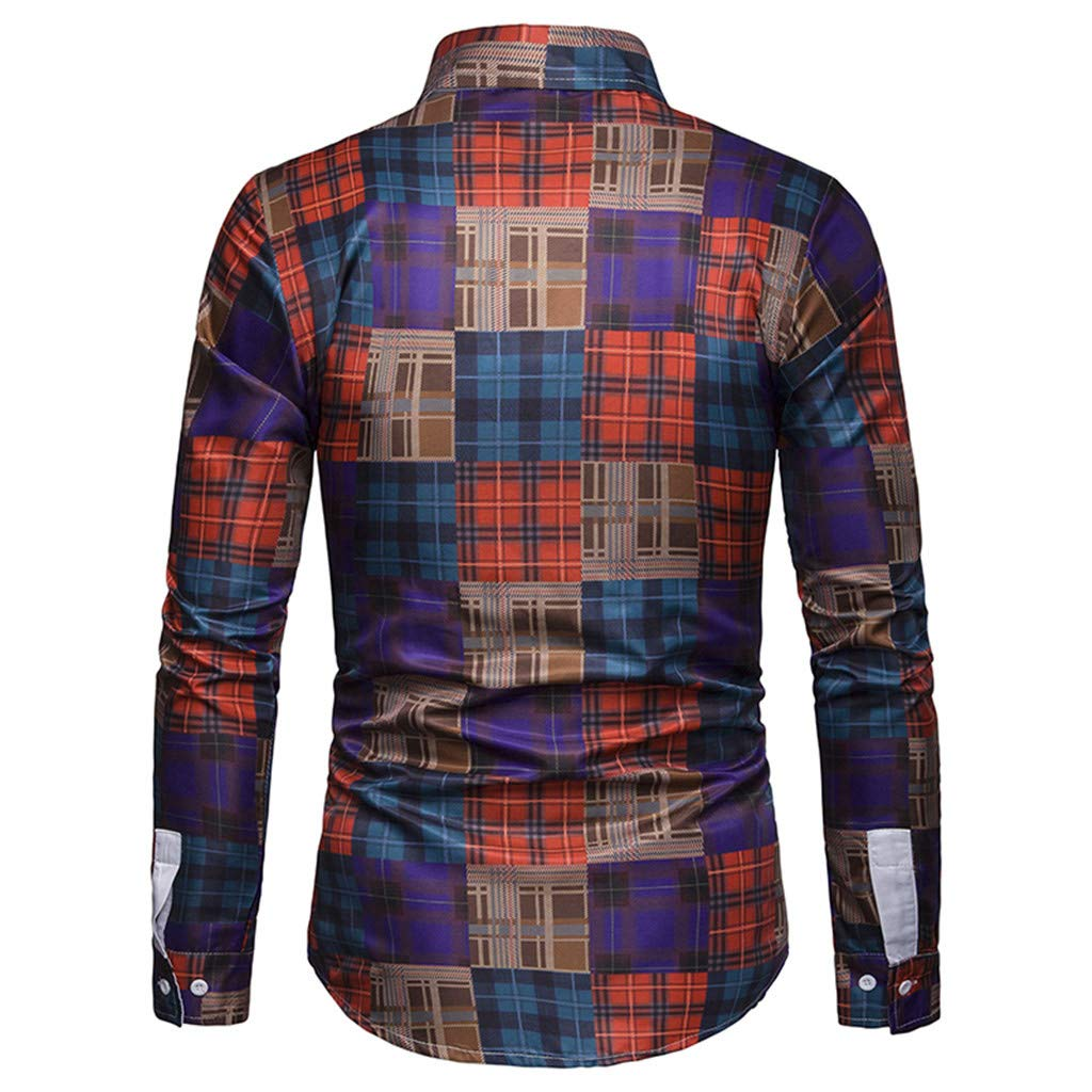 Big Sales Anewoneson 2019/ / Mens Long Sleeve Plaid Patchwork Large Size Shirt