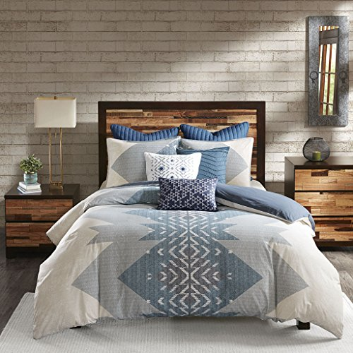 Ink+Ivy Nova Duvet Cover King/Cal King Size - Ivory, Blue, Geometric Duvet Cover Set - 3 Piece - 100% Cotton Light Weight Bed Comforter Covers
