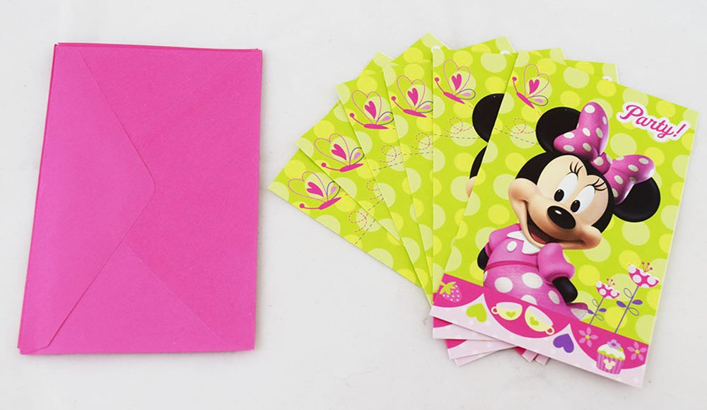 Minnie Mouse Party Invitations Girls Invites 6 Pack Cute Disney Invite Cards Set Amazoncouk Toys Games