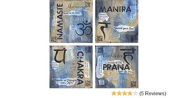Set of Four 12x12 Yoga Poster Art Prints Namaste Mantra Chakra Prana