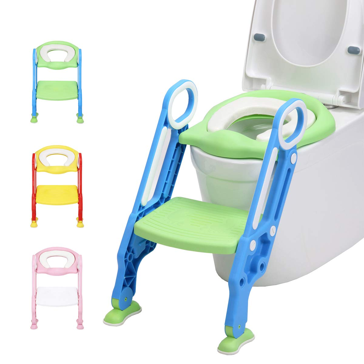 LANGXUN Potty Training Seat with Ladder for Boys and Girls,Baby Toddler Toilet Training Seat with Soft Toilet Seat and Sturdy Step Stool Ladder and Non-Slip Wide Step (Blue/Green)