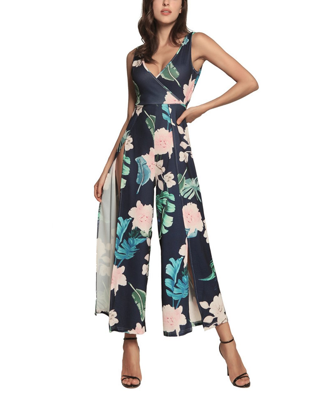 Women Jumpsuit, L'ananas 2018 V Neck Broad Leaf Floral Printing Backless Sleeveless Split Wide Legs Long Rompers Overalls (CN-S/US-2, Dark Blue) by L'ananas-Women Jumpsuit