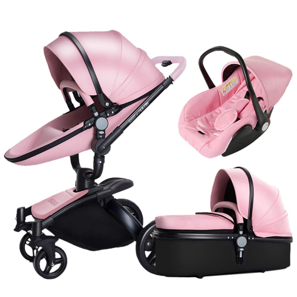 Luxury Gift pram PU Baby Strollers 3 in 1 Travel System with 360 Degree Rotating bassinets 2 in 1 ?Infant Stroller and car seat Combo Pushchair Reversible Stroller Sleeping Carriage (Pink PU 3-1)