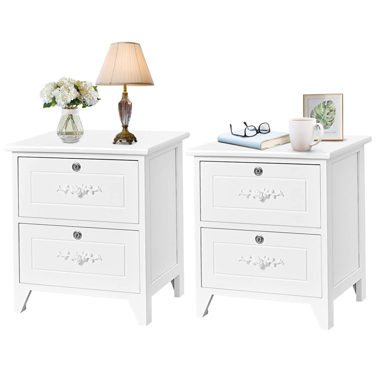 Giantex End Table Wooden W/ 2 Locking Drawers and Handles for Storage and Organize, Solid Structure for Bedroom Beside Sofa Side Nightstand (2, White) by Giantex