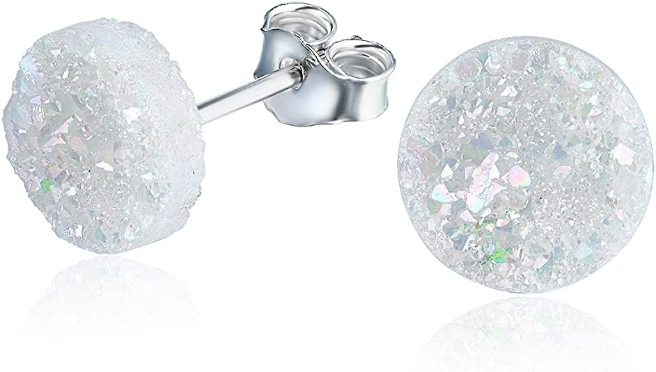 Amazon.com: White Crystal Stud Earrings with Sterling Silver 8mm Round Crystal Charm Earrings for Women or Men: Clothing