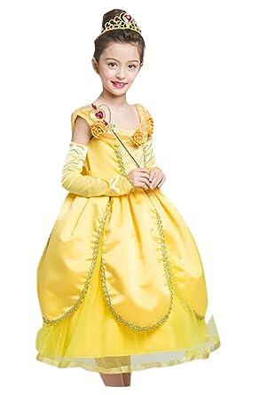 2f0282c9af6b9 美女と野獣風 ベル風 衣装 ドレス 子供用 クリスマス キッズ ハロウィン コスプレ 仮装 発表