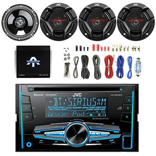 JVC KW-R920BTS Double DIN Bluetooth In-Dash Receiver, 4x JVC CS-DR620 300-Watt Peak 6.5