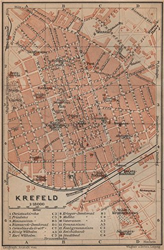 Krefeld Karte.Amazon Com Krefeld Town City Stadtplan Northrhine Westfalia