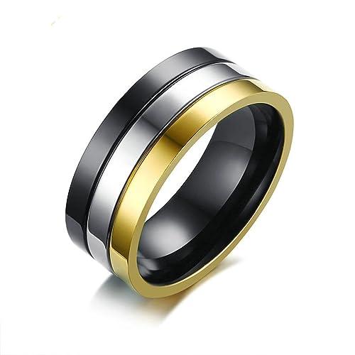 AMDXD Joyería Titanium Acero Inoxidable Anillos de Boda para Hombre Alto Pulido 3 Color Negro Oro