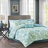 Bed Comforter Sets Madison Park Essentials Serenity King Size Bed Comforter Set Bed In A Bag - Aqua, Medallion – 9 Pieces Bedding Sets – Ultra Soft Microfiber Bedroom Comforters