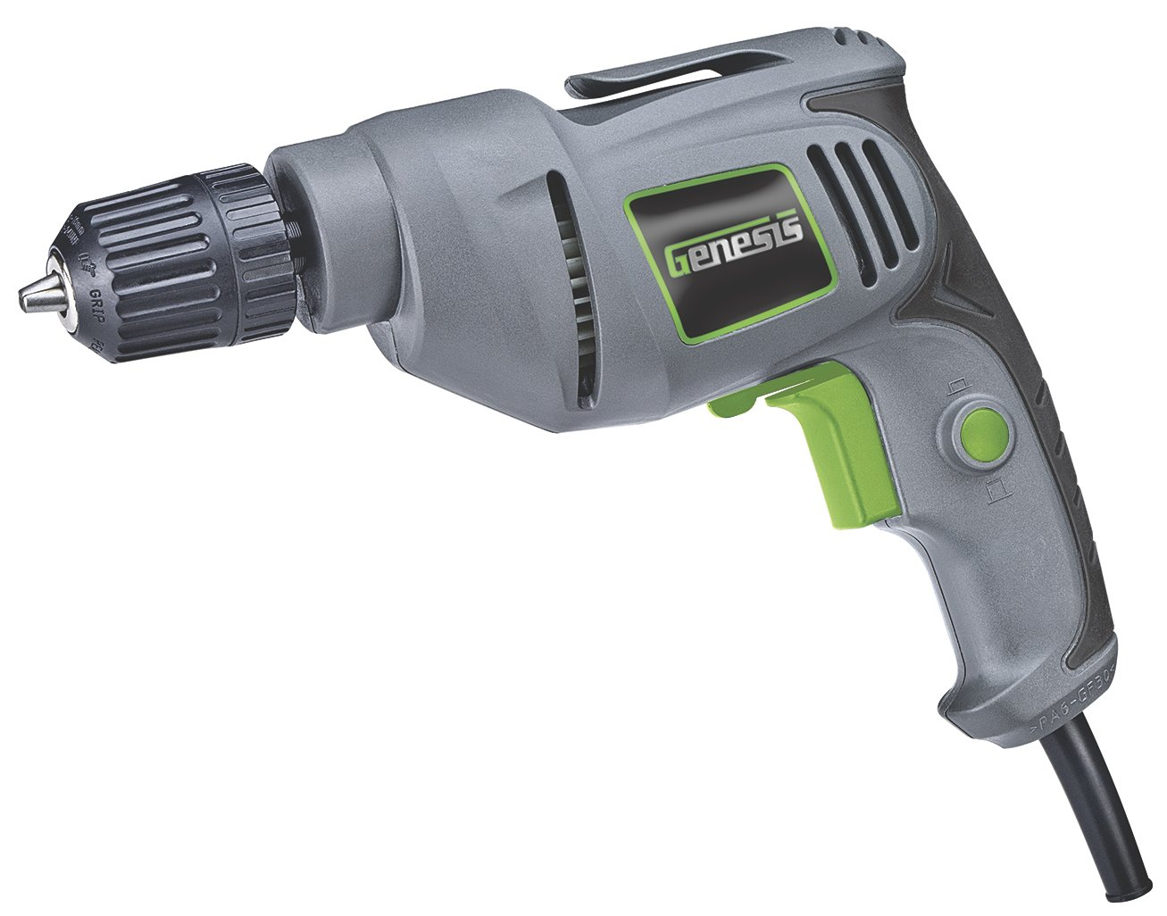 Genesis GD38B Variable Speed Reversible Electric Drill with 3 8-Inch Keyless Chuck, Belt Clip, Rubberized Grip, and Lock-On Button