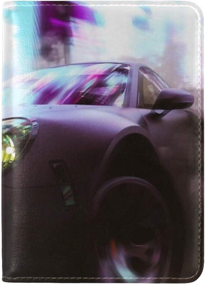 Car Sportscar Speed Leather Passport Holder Cover Case Travel One Pocket