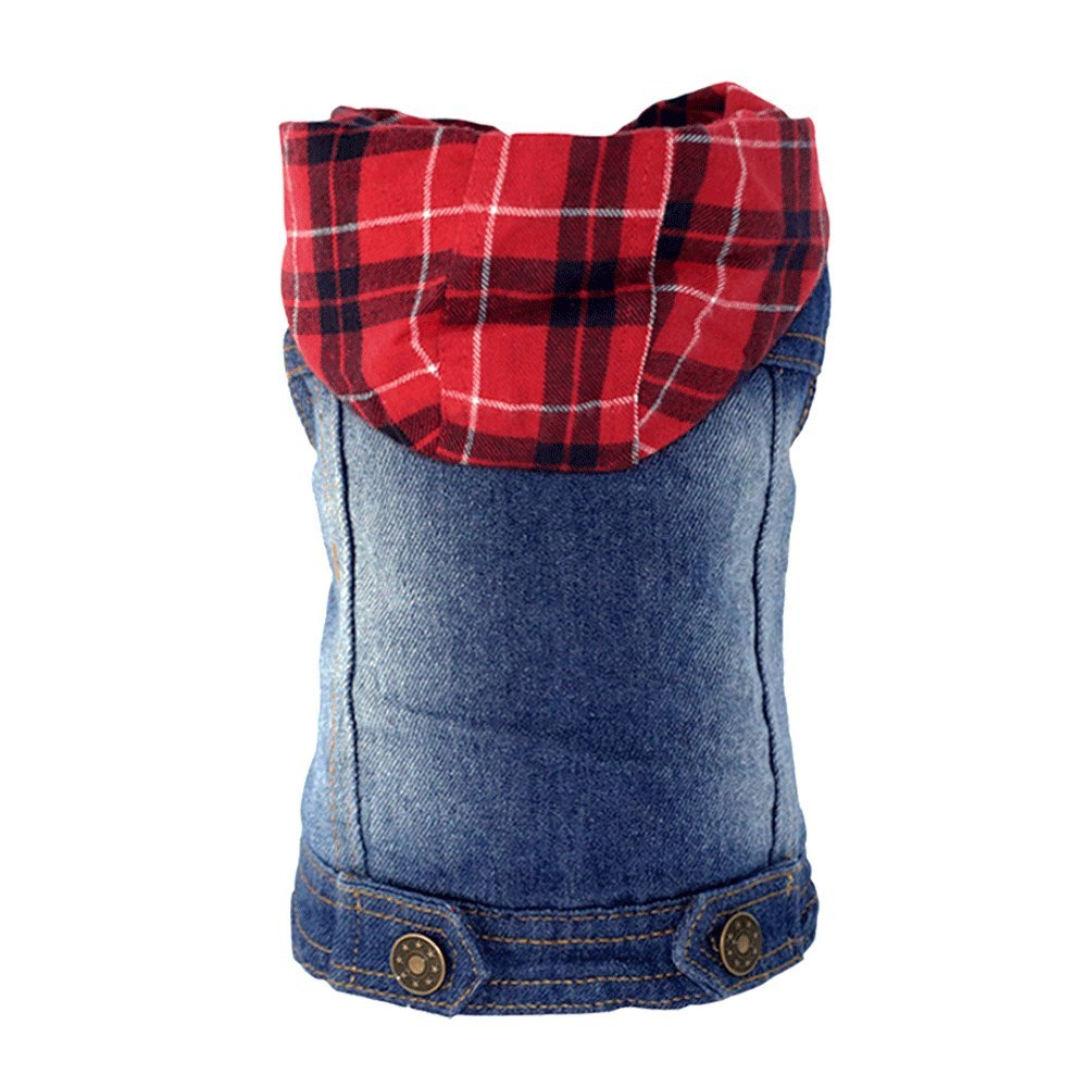 SILD Pet Clothes Dog Jeans Jacket Cool Blue Denim Coat Small Medium Dogs Lapel Vests Classic Hoodies Puppy Blue Vintage Washed Clothes