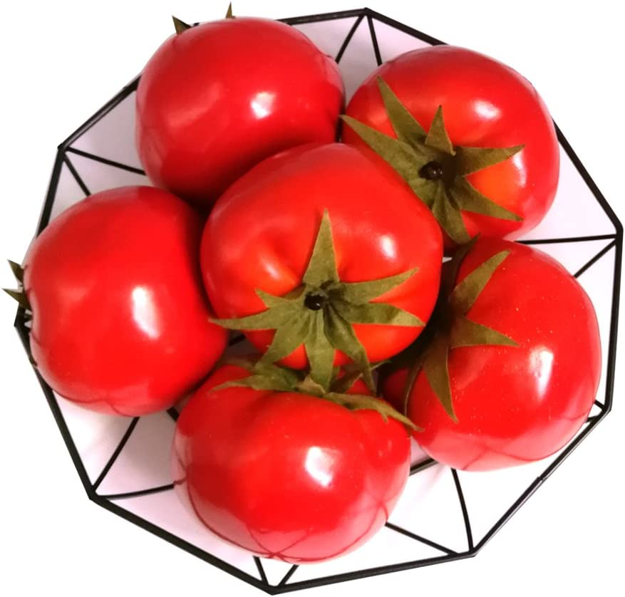Jing-Rise 6pcs Fake Tomato Artificial Vegetables Artificial Fruits Vivid Red Tomato for Home Fruit Shop Supermarket Desk Office Restaurant Decorations Or Props