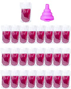 Drink Bag, 25Pcs 200ML Plastic Drink Pouch with Silicone Funnel Foldable Hand-held Nozzle Flask Bag Stand-Up Smoothie Bag Spout Pouch Water Bottle Beverage Container for Cold, Hot Drink (25, 200ml)