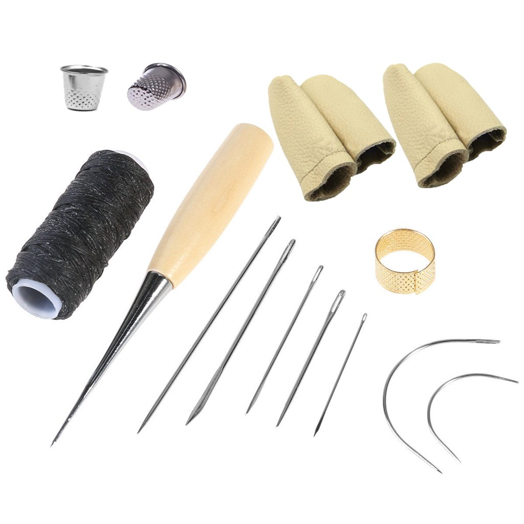 OSOF Curved Upholstery Repair Kit Hand Sewing Needles Set with Leather Waxed Thread Cord Drilling Awl, Thimble and 2pair Needle Felting Guards Finger Protectors for Leather Sewing Leathercraft Working 4336935446