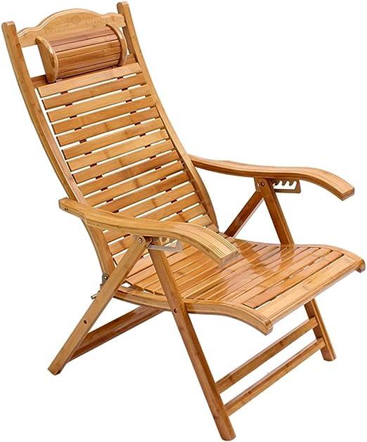 XITER Silla de Playa Sillón de jardín Piscina Plegable Sillón reclinable Silla de salón de bambú Ajustable Sillón de relajación para Interiores o Exteriores: Amazon.es: Hogar