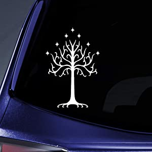 "Bargain Max Decals - LOTR Tree of Gondor Sticker Decal Notebook Car Laptop 7"" (White)"