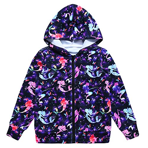 Jxstar Girls Hoodie Bomber Jacket Cartoon Starry Mermaid Print Long Sleeve Full Zip Pocket Coat Outwear Starry Mermaid 150
